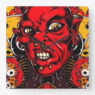 Devil Face Square Wall Clock