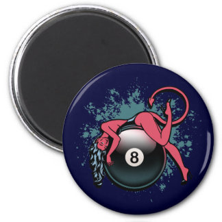 Devil Girl 8-Ball 2 Inch Round Magnet