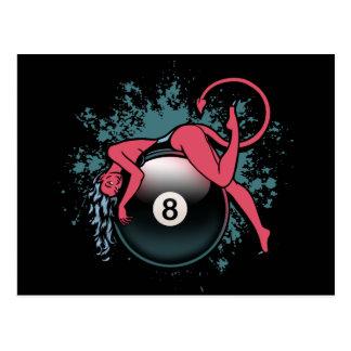 Devil Girl 8-Ball Postcard