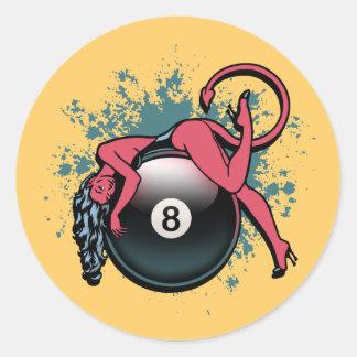 Devil Girl 8-Ball Classic Round Sticker