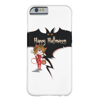 Devil girl and bat happy Halloween. Barely There iPhone 6 Case