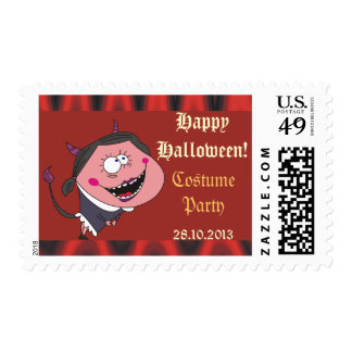 Devil Girl and Flames Halloween Postage Stamps