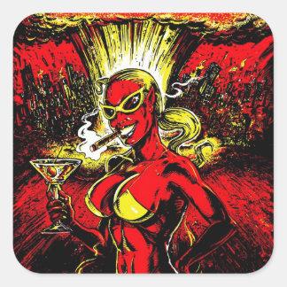 Devil Girl Atom Bomb Square Sticker