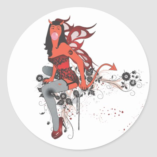Devil Girl II Classic Round Sticker