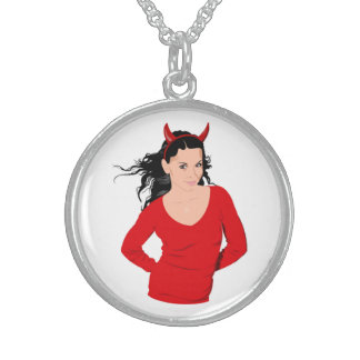 DEVIL GIRL ROUND PENDANT NECKLACE