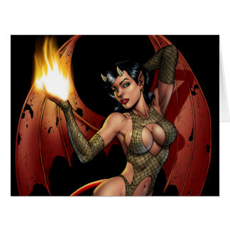 Devil Girl Pinup Illustration with Fire by Al Rio Card