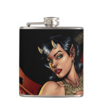 Devil Girl Pinup Illustration with Fire by Al Rio Hip Flask