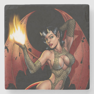 Devil Girl Pinup Illustration with Fire by Al Rio Stone Coaster