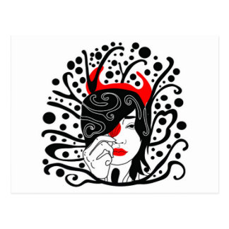 devil girl postcard