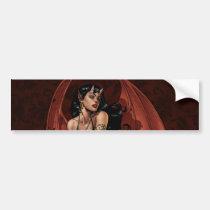 devil, devil girl, witch, cauldron, smoking, gothic, art, al rio, evil, seductive, illustration, Bumper Sticker with custom graphic design