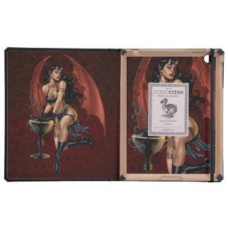 Devil Girl Witch's Cauldron Smoking Gothic Art iPad Cover