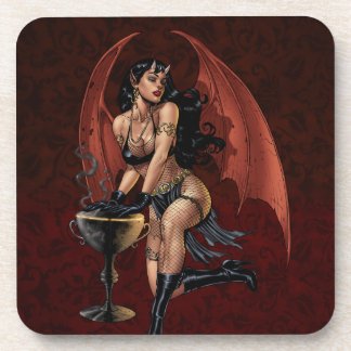 Devil Girl Witch's Cauldron Smoking Gothic Art Coaster