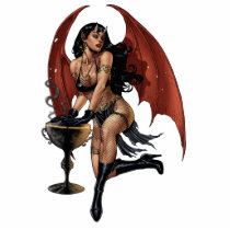 devil, devil girl, witch, cauldron, smoking, gothic, art, al rio, evil, seductive, illustration, Photo Sculpture with custom graphic design