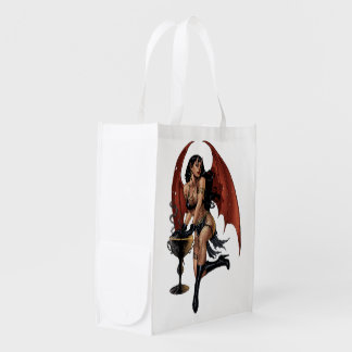 Devil Girl Witch's Cauldron Smoking Gothic Art Grocery Bags