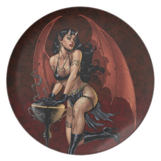 Devil Girl Witch's Cauldron Smoking Gothic Art Party Plates