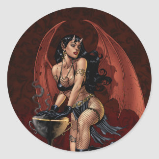Devil Girl Witch's Cauldron Smoking Gothic Art Classic Round Sticker