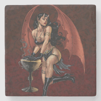 Devil Girl Witch's Cauldron Smoking Gothic Art Stone Coaster