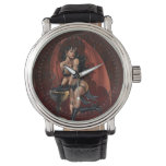 Devil Girl Witch's Cauldron Smoking Gothic Art Wrist Watches