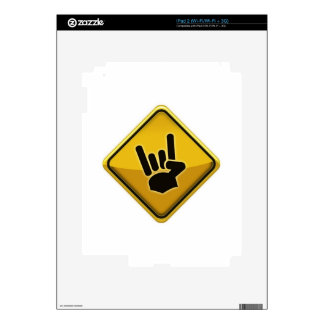Devil hand sign of the horns road sign traffic skin for the iPad 2