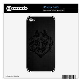 Devil Head (black outline on metal) Decals For iPhone 4S