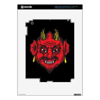 Devil Head (bright red & yellow) Decals For iPad 3
