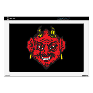 Devil Head (bright red & yellow) Laptop Decals
