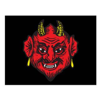 Devil Head (bright red & yellow) Postcard