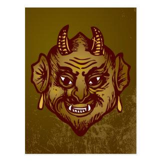 Devil Head (tan, on grunge background) Postcard