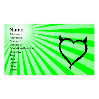 Devil Heart; green Double-Sided Standard Business Cards (Pack Of 100)