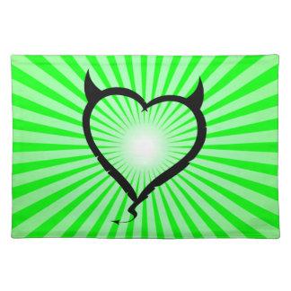 Devil Heart; green Place Mats