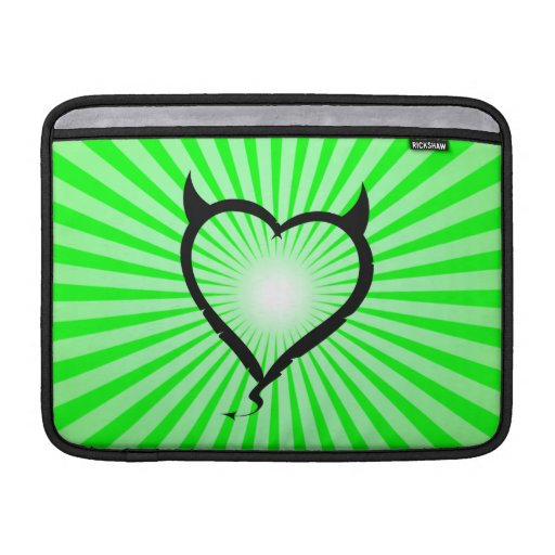 Devil Heart; green Sleeve For MacBook Air
