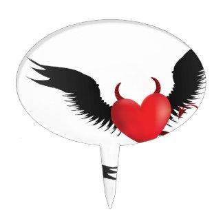 Devil hearts cake topper