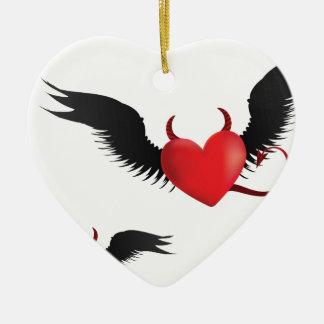 Devil hearts ceramic ornament
