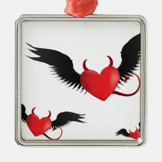 Devil hearts metal ornament