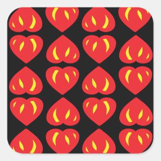 Devil hearts square sticker