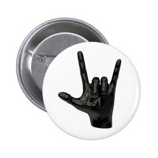 devil horns hand 2 inch round button
