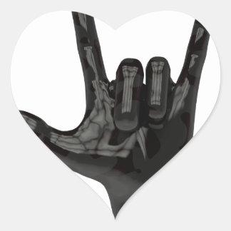 devil horns hand heart sticker