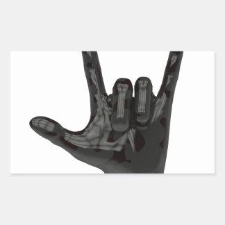devil horns hand rectangular sticker