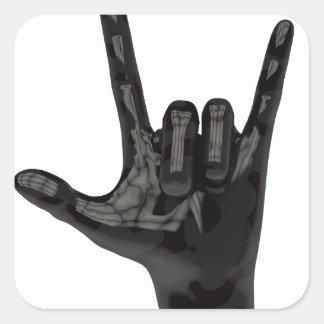 devil horns hand square sticker