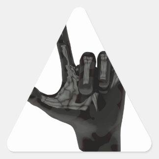 devil horns hand triangle sticker
