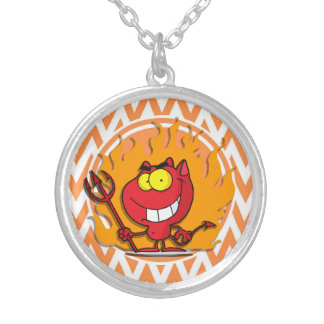 Devil; Orange and White Chevron Personalized Necklace