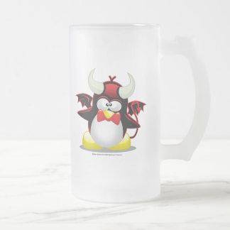 Devil Penguin Frosted Glass Beer Mug