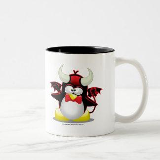 Devil Penguin Two-Tone Coffee Mug