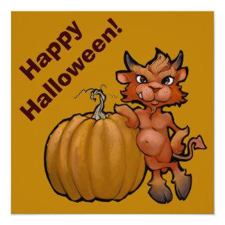 Devil Pup with Pumpkin Card