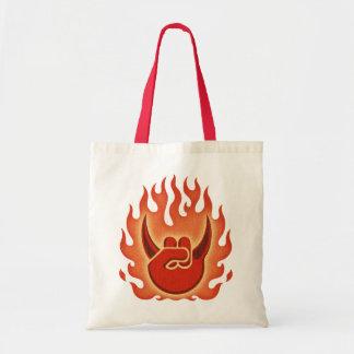 Devil Rock Flames Tote Bags