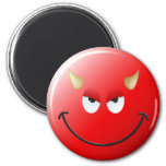 Devil Smiley Face 2 Inch Round Magnet