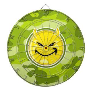 Devil Smiley Face; bright green camo, camouflage Dart Boards