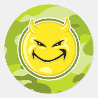Devil Smiley Face; bright green camo, camouflage Classic Round Sticker