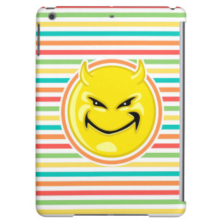 Devil Smiley Face on Bright Rainbow Stripes Cover For iPad Air