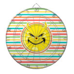Devil Smiley Face on Bright Rainbow Stripes Dartboard